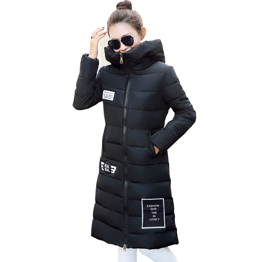 Autumn and winter new women s long coat down jacket thickening fashion Slim Slim code printing