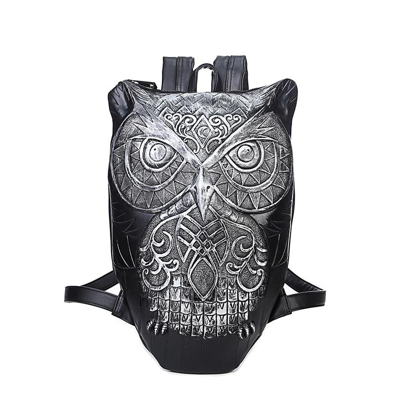 Women Backpack 2017 Cool Black PU Leather Cute 3D Owl Backpack Female Hot Sale Women Bag