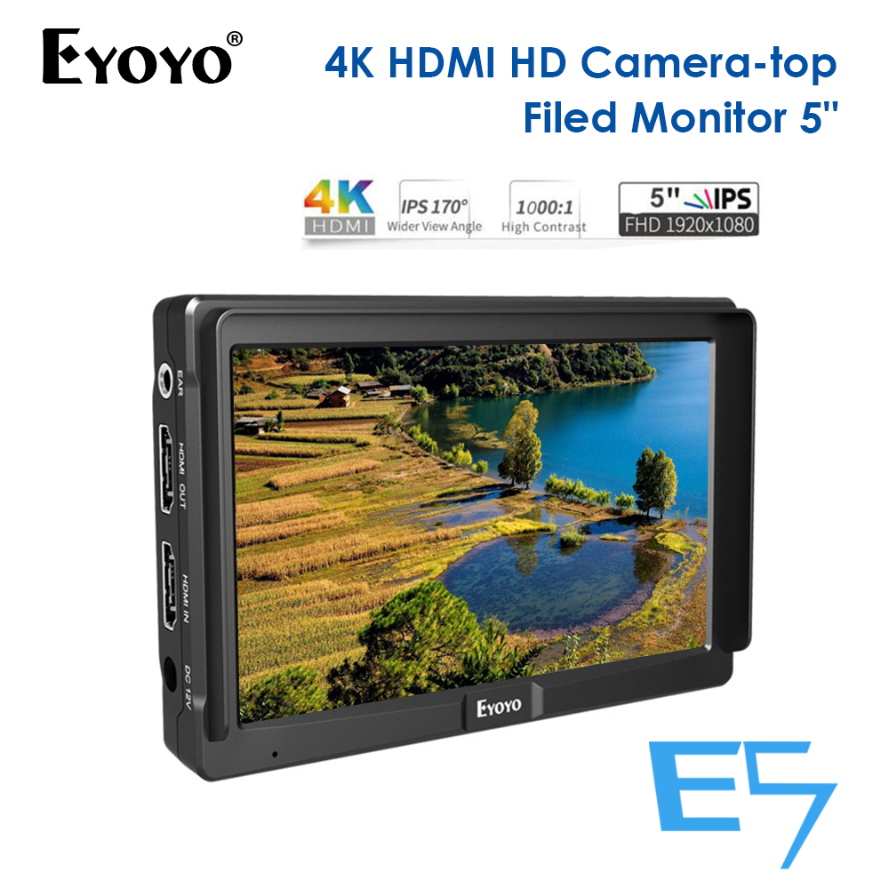 Eyoyo E5 5inch  4K HDMI DSLR Camera Field Monitor Ultra Bright 400cd/m2 Full HD 1920x1080 LCD IPS for Outdoors-in Monitor from Consumer Electronics