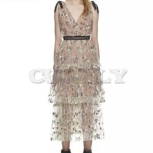 Cuerly 2019 Self Portrait Runway Mesh Embroidery Party Dresses Women Casual Lace Splice Stars Sequins Long Dress Vestidos