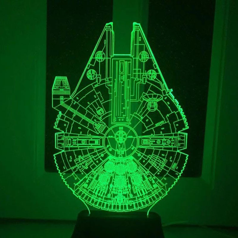 Star Wars BB8 droid 3D Bulbing Light toys 2016 New  7 color changing visual illusion LED lamp Darth Vader Millennium Falcon toy  star wars bb8 droid 3d bulbing light toys new 7 color changing visual illusion led decor lamp darth vader millennium falcon toy