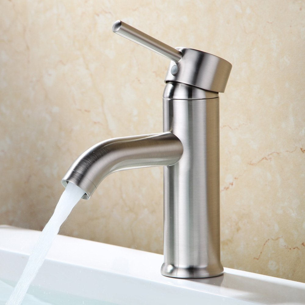 euro modern contemporary bathroom vanity sink lavatory faucet brushed