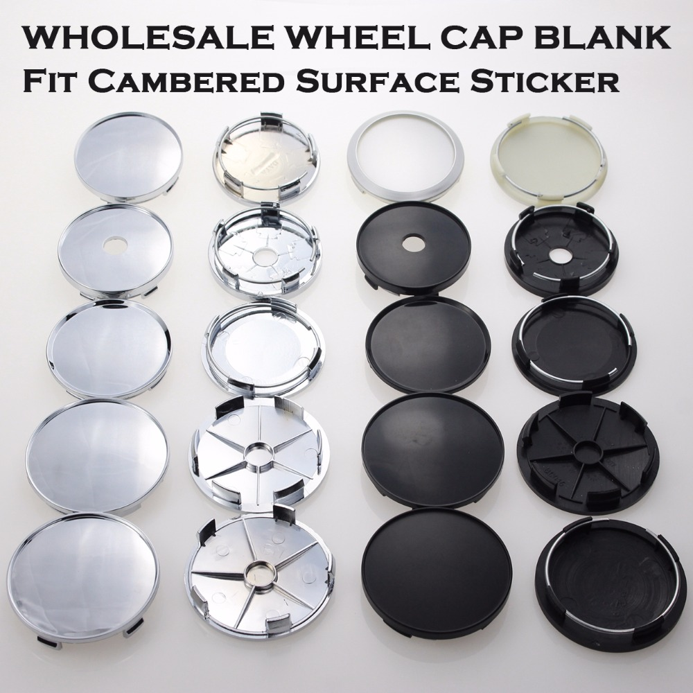 Wholesale Universal Base Blank Center Caps For Clip Fit Diameter 53/55/58/62MM Inner Rim Hole Wheel Hubcaps No Sign SET OF 4