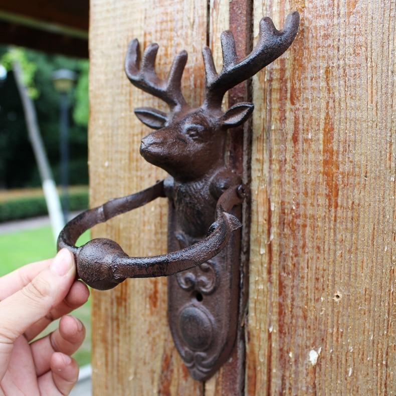 Vintage heurtoir de porte en fonte renne cerf cerf tête de porte poignée de porte loquet de porte pays Rural métal porte décoration Animal orné