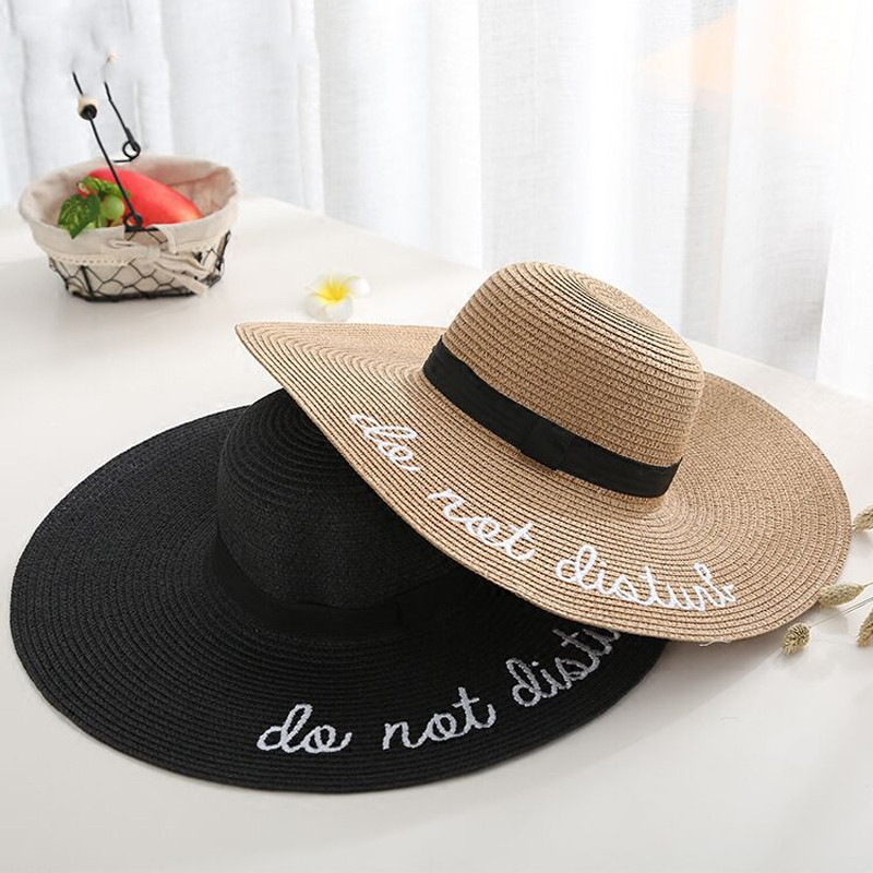 2019 Hot Letter Embroidery Cap Big Brim Ladies Summer Straw Hat Youth Hats For Women Shade Sun Hats Beach Hat Sale