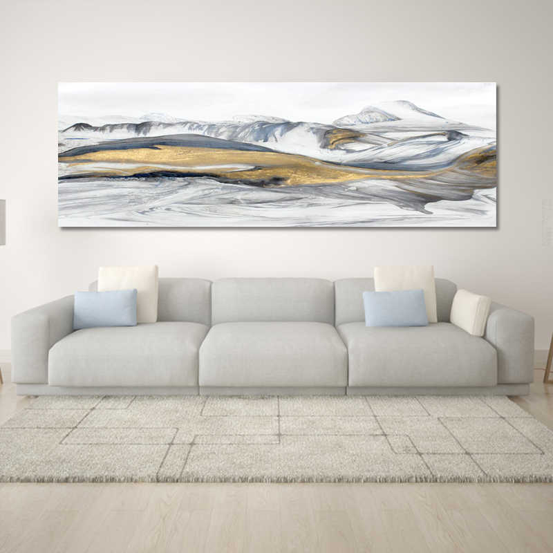 Modern Abstract Art Oil Painting Posters and Prints Wall Art Canvas Painting Chinese Abstract Mountains Pictures for Living Room