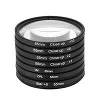 55mm UV+CPL+Star8+Close up (+1 +2 +4 +10) Photography Filter Kit Set for Canon Nikon Sony DSLR Camera Lens