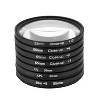 55mm UV+CPL+Star8+Close up (+1 +2 +4 +10) Photography Filter Kit Set for Canon Nikon Sony DSLR Camera Lens
