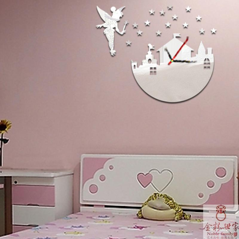 diy acrylic all new fashion child home decor room set fairy stars  promotional gifts for girls mirror wall clock. Online Get Cheap Wall Clock Children  Aliexpress com   Alibaba Group