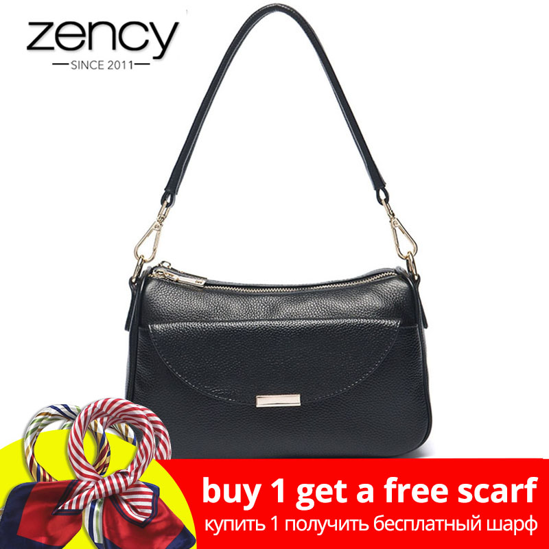 Zency Wanita Bahu Beg 100% Kulit Tulen Fesyen Summer White Small Bag Lady Messenger Crossbody Purse Mudah Handbag Hitam