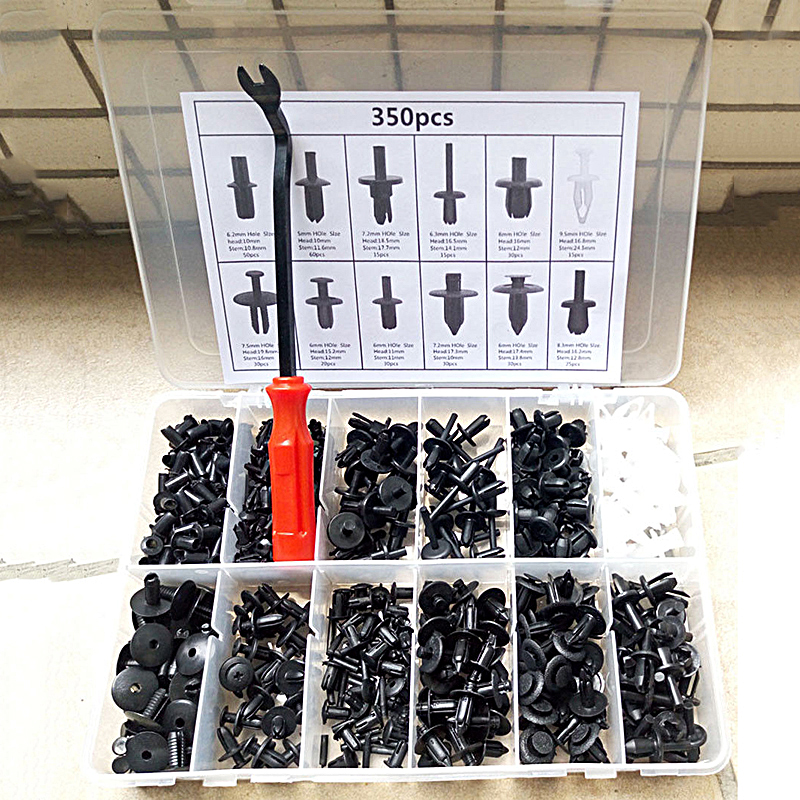 350 Pcs Auto Voiture Push Retainer Pin Rivet Garniture Clip Voiture Corps En Plastique Attaches Garniture Panneau Moulage Clip Assortiments Kit