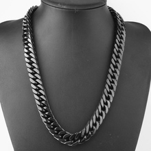 Granny Chic 15/17mm Wide Top Black Double Curb Cuban Link Chain Mens Womens Stainless Steel Bracelet Or Necklace 18-36 inch