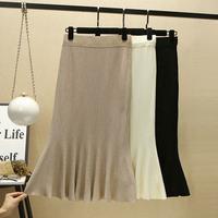 White Women Knitted Skirt Fashion Artificial Ice Silk Bodycon Skirts Womens Jupe Femme Korean Maxi Long High Waist Skirt C4702