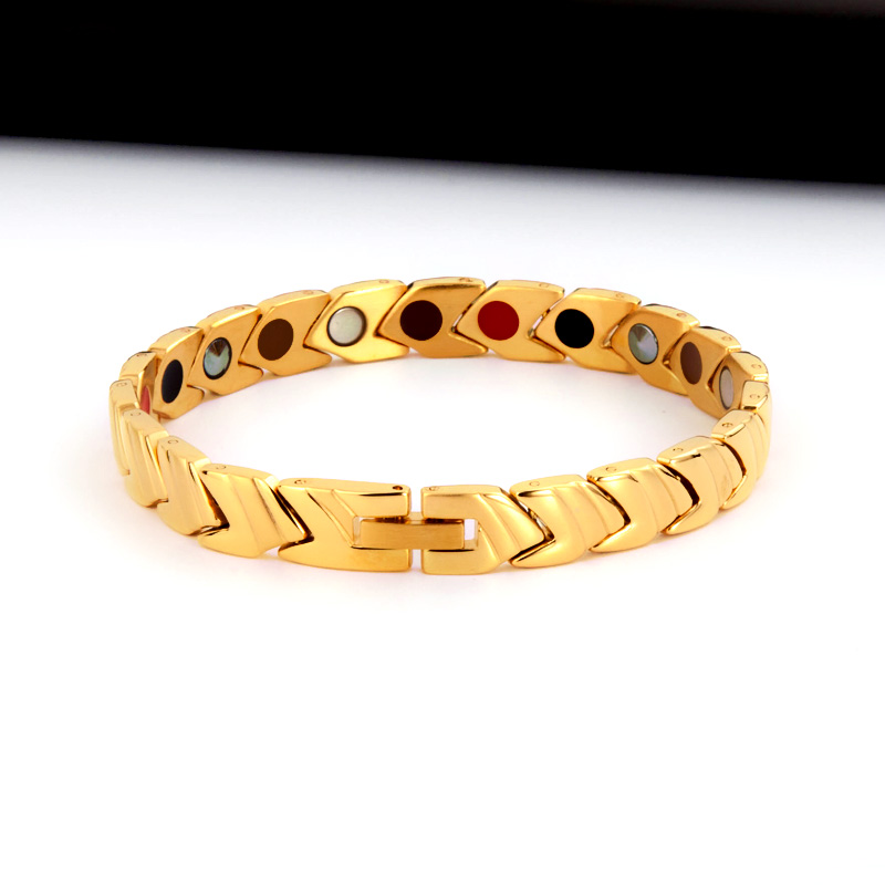 Bracelet de thérapie magnétique de bracelets porte-bonheur magnétique d'acier inoxydable de bijoux de mode des hommes 38 élégants - 2