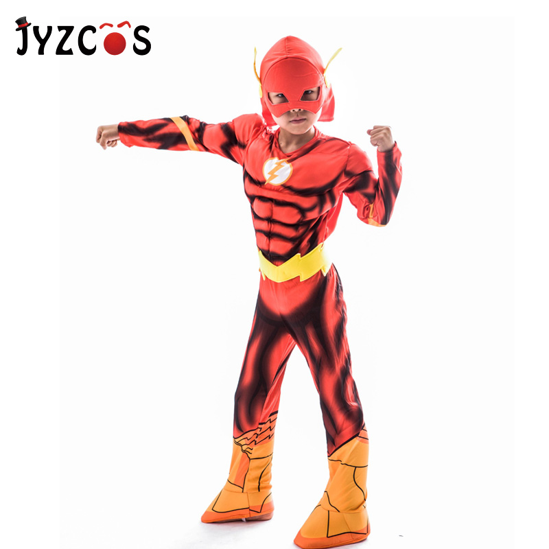 JYZCOS The Flash Costume Kids Superhero Fancy Dress Purim Halloween Party Cosplay Costume
