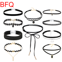 [BFQ]Maxi Collier 2017 Choker Necklace For Women 10Pcs/Pack Necklaces Pendants Multilayer Collar Necklace Statement Jewellery