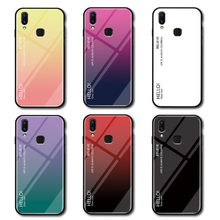 Gradient Tempered Glass Phone Case For Huawei Y9 2019 Luxury Colorful Cover Shell Coque Capa