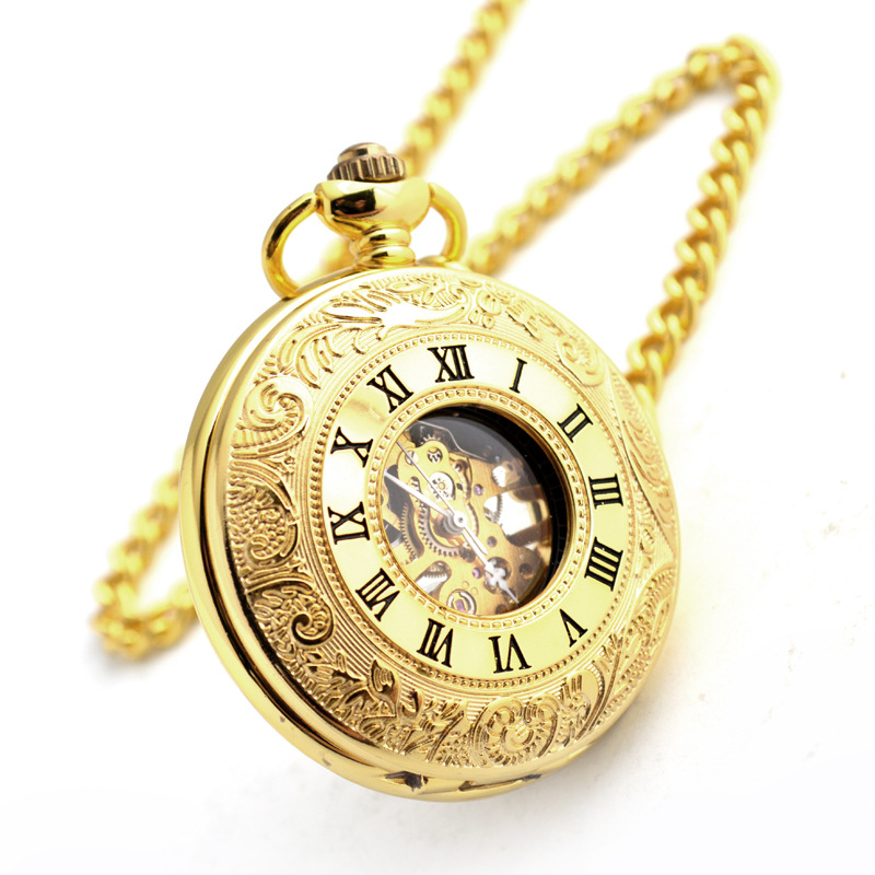 Gold Mechanical Pocket Watch Business Roman Numerals Pocket Fob Watches for Mens Gifts Women's Accessories Wedding Gift Qi Qi Wu