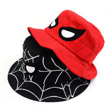 d610c30e38631 2019 new Baby Kids Cartoon spiderman Sun Basin Cap Children Fisherman Hat  Boys Girls Sun Hat