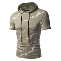 2018 Fashion flash print hoodie T shirt for men Summer Hooded Collar Sling Design T Shirt Men Short Sleeve Slim Male Tops