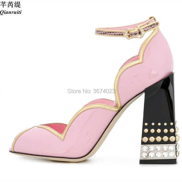 Qianruiti Pink Black Runway Shoes Women Gold-tone Trimmed Pumps Ankle Strap  Block High Heels Peep Toe Sandals Party Dress Heels feb0ed4e194c