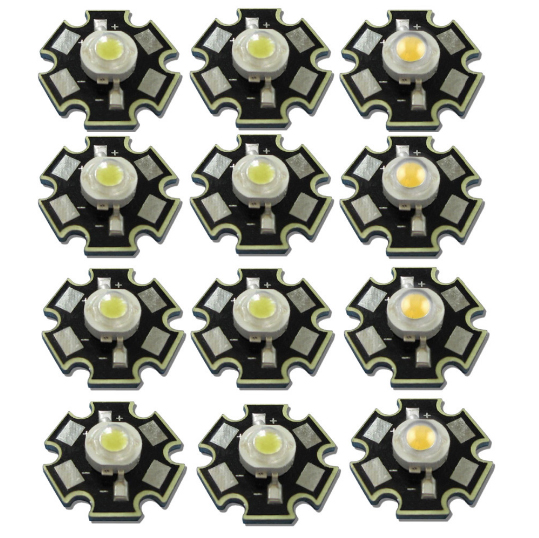 50pcs/lot High Power 1W 3W Cool / Warm White 3500K 6500K 15000K LED Bulb Chip Crystal Diodes Light lamp With 20mm AL Star Base