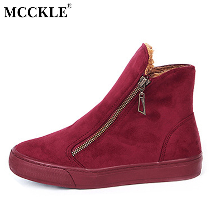 MCCKLE Women's Winter Warm Plush Zip Ankle Snow Boots Female Suede Fur Flat Solid Platform Slip On Black Comfortable Shoes fashion women ankle boots suede tassels snow boots female warm plush bowtie fur rubber flat silp on platform black shoes casual