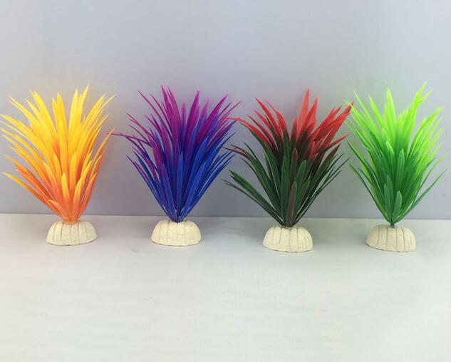 Hot Sale Artificial Plastic Plant Narcissus Water Grass Fish Tank Aquarium Decoration Green Red Blue Yellow 13 x 4 cm CANDYKEE