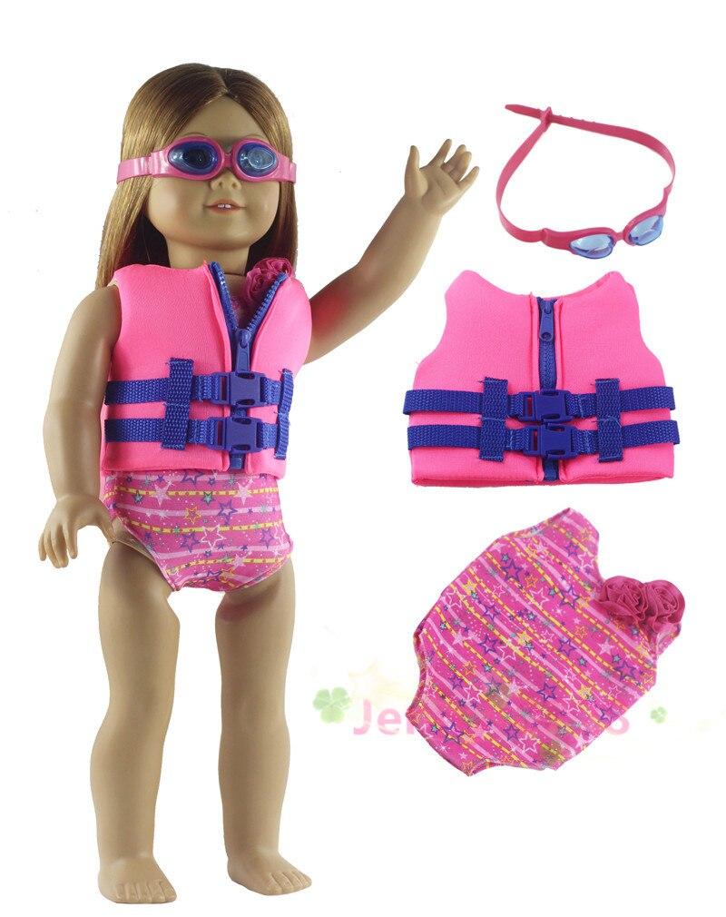Doll Pink Swimsuit Set Bikini Coat Backpack for 18/'/' AG American Doll Doll