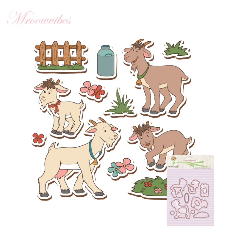 Goat Silicone Clear Stamp+Metal Cutting Dies Stencil Frame Scrapbook Album Decor Clear Stamps Scrapbooking Accessories pig silicone clear stamp metal cutting dies stencil frame scrapbook album decor clear stamps scrapbooking accessories