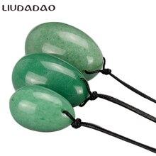 LIUDADAO Зеленый авантюрин камень большой маленький Йони яйцо игрушка кристалл массажер яйца Кегеля мяч упражнения тазового дна мышцы здоровья