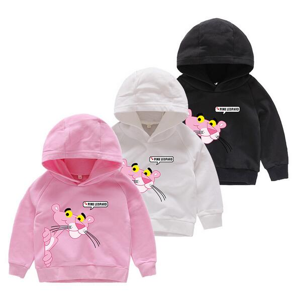 3-10Y 2018 girls pink Sweater Panther T-shirts Baby boys Hooded Long Sleeves Children Spring Autumn Clothes Toddler Outerwear pink lace up design cold shoulder long sleeves t shirts