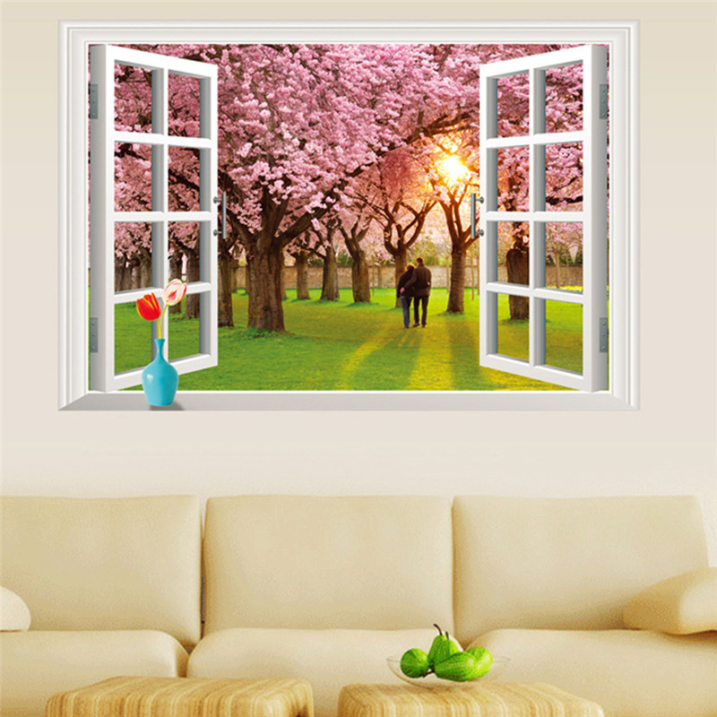 Fake Window Wall Decals Cherry Blossoms Lavender Pegatinas Infantiles  Living Room 3D Landscape Wallpaper Fake Window Wall Decals In Wall Stickers  From Home ...