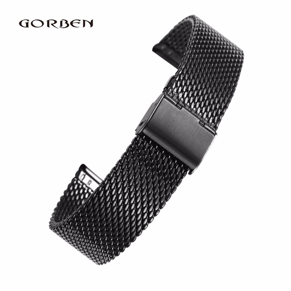 Watchband For Men 18mm 20mm 22mm 24mm Stainless Steel Mesh Strap Black Silver Golden With Folding Clasp Metal Women Watch Band