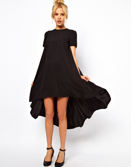 US $20.76  Women Summer Dress 2014 Plus Size Casual Dress Nastygal Hot  Asymmetrical Tail Dress Short Sleeve O neck Black Red Blue Color-in Dresses  ...