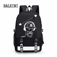 Senkey Style Student School Backpack Anime Luminous USB Charge Laptop Computer Backpack For Teenager Anti-theft Boys School Bag senkey style high quality men nylon backpack for school bag teenagers boys laptop computer bag man schoolbag rucksack mochila