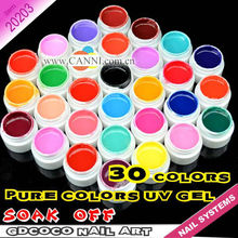 #20203 2017 New nail art professional CANNI 30 color pure color uv gel kit, uv color paint gel kit,uv color gel kit