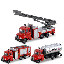 Simulated inertia pullback miniature fire truck model for children Alloy fire tank truck control ladder truck boy toy model gift children inertia toy car simulator ladder truck firetruck
