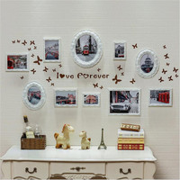 Wooden Frame 10 Frames White Wood Family Photo Frame For Picture Wall Hanging Combination Photo Holder