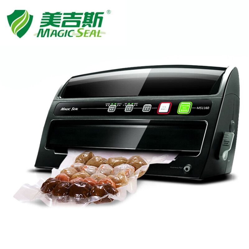 MAGIC SEAL Food Saver Vacuum Packing Machine with Roll Cutter, Electric Home Vacuum Sealer 200W/220V with Vacuum Bag commercial rolling vacuum marinated machine ka 6189 electric vacuum marinated chicken bacon machine 220v 20w