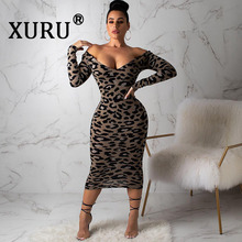 XURU new sexy womens leopard dress fashion V-neck XL casual print