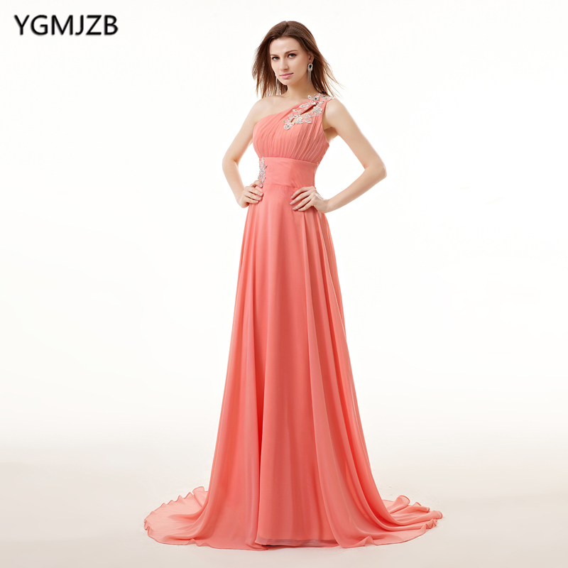 Plus Size Coral Bridesmaid Dresses Long 2018 A Line One Shoulder