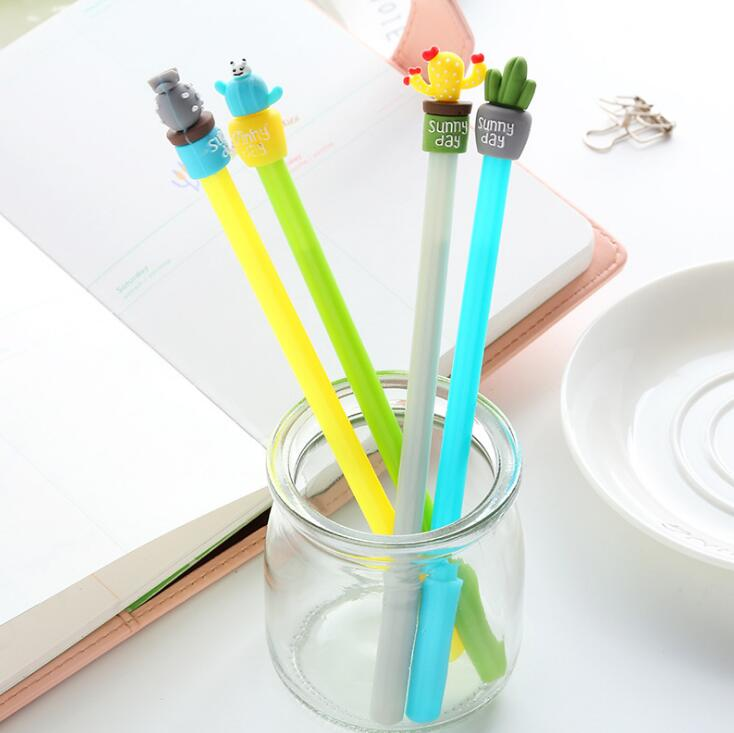 0.35mm  Lovely Peach Sir Cactus Gel Pen Signature Pen Escolar Papelaria School Office Supply Promotional Gift