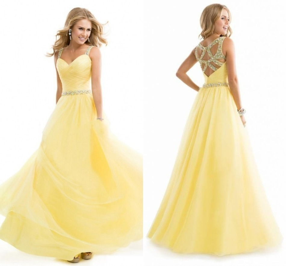 Prom Dresses Light Yellow Amazing Style Cheap Sheer Straps Hot ...