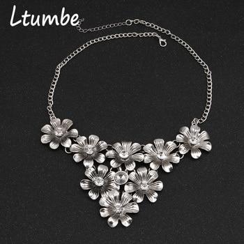 88db90c01fd2 Ltumbe nueva moda estilo Punk Color plata gran flor cristal declaración  collares y colgantes para mujeres joyería de fiesta Bijuterias