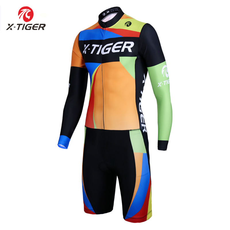 X Tiger Long Sleeve Triathlon for Running Swimming Cycling Compression Sponge Padded Spring MTB Bike Jersey