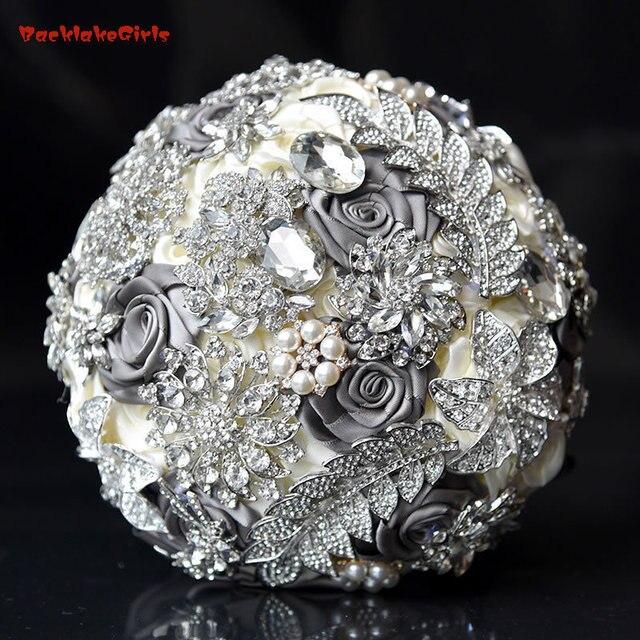 2018 Stunning Bride Brooch Bouquet Royal Blue Leaf Bouquet Crystal ...