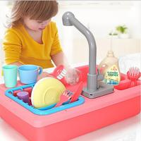 Pretend Simulation Electric Dishwasher Sink Pretend Play Kitchen Toy Set Children Kids Puzzle Early Education Toys Gifts