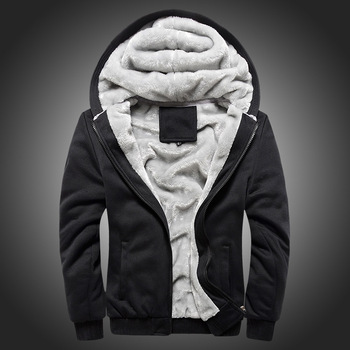 New Velelt Lining Thick Warm Sweatshirts Men Plus Size Solid Color Winter Jacket Men