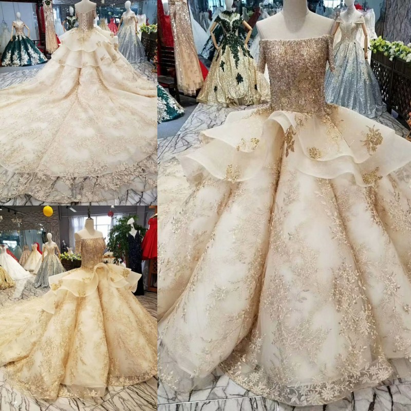 Gold Lace Ball Gowns Wedding Dresses 2018 Custom Made Sexy Off Shouler Short Sleeves Court Train Beaded Corset Bridal Gowns Платье